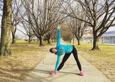 Triangle Pose or Trikoasana by PeaceLoveanYoga for TryBelle Magazine