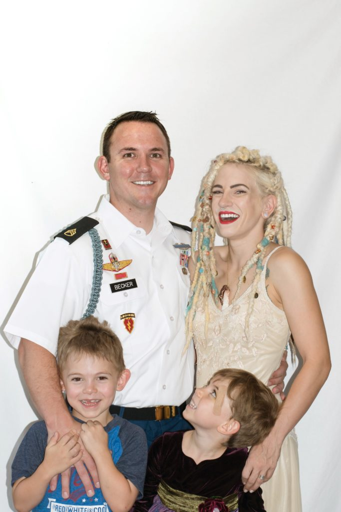 Karissa Becker with her military husband and their little oms