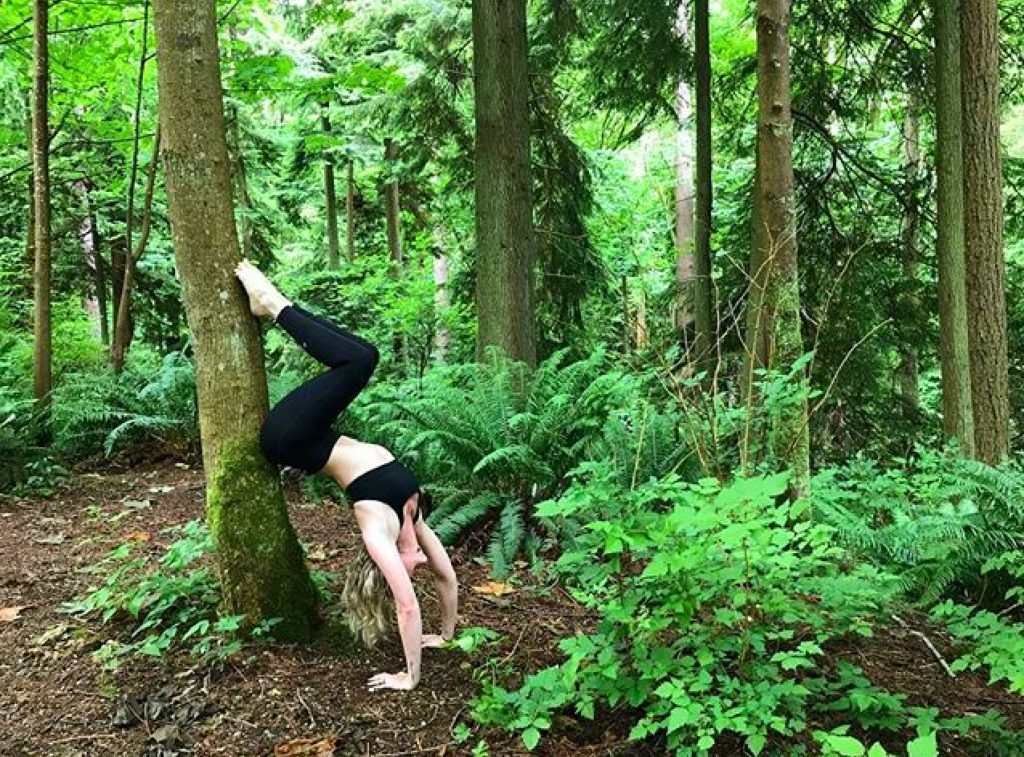 Yoga Hollowback at Pacific Spirit Regional Park by Mikaela